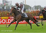 Fast Clip winning the Group 2 Tulloch Stakes 2/4/2011.Thank you Lisa Grimm for the terrific photos!